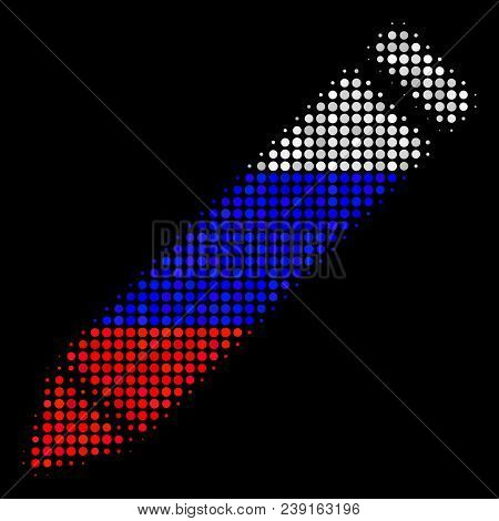 Halftone Edit Pencil Pictogram Colored In Russia Official Flag Colors On A Dark Background. Vector M