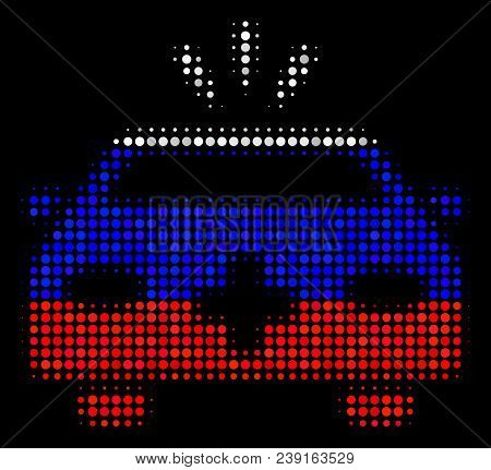 Halftone Emergency Car Icon Colored In Russian Official Flag Colors On A Dark Background. Vector Com