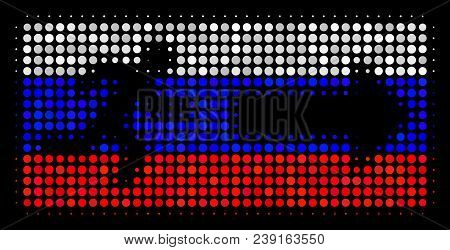 Halftone Emergency Exit Icon Colored In Russia State Flag Colors On A Dark Background. Vector Patter