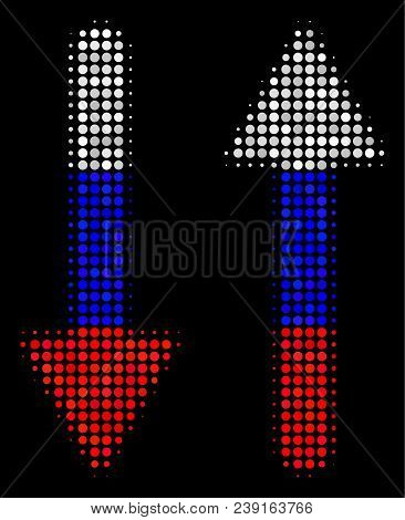 Halftone Exchange Arrows Icon Colored In Russia State Flag Colors On A Dark Background. Vector Patte