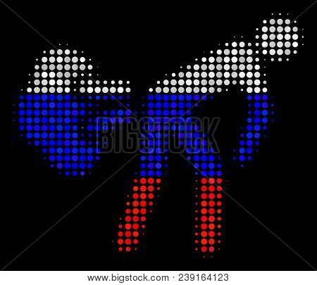 Halftone Fart Gases Icon Colored In Russia State Flag Colors On A Dark Background. Vector Concept Of