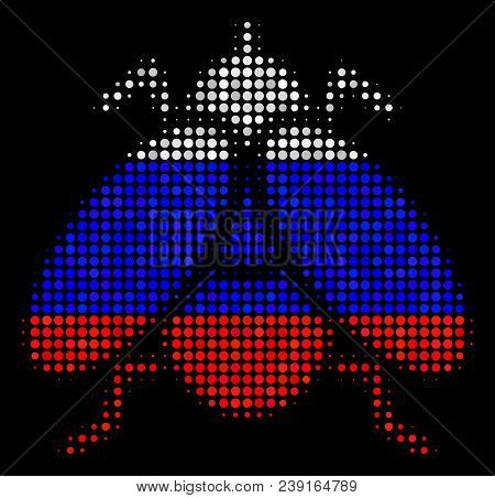 Halftone Fly Insect Icon Colored In Russian Official Flag Colors On A Dark Background. Vector Mosaic