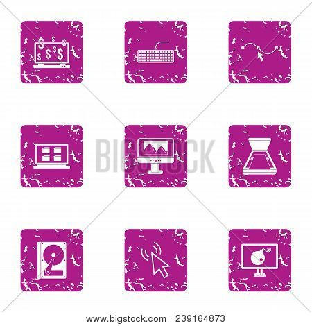 Online Wealth Icons Set. Grunge Set Of 9 Online Wealth Vector Icons For Web Isolated On White Backgr