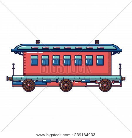 Old Fashion Passenger Wagon Icon. Cartoon Of Old Fashion Passenger Wagon Vector Icon For Web Design