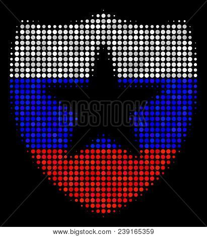 Halftone Guard Icon Colored In Russian State Flag Colors On A Dark Background. Vector Pattern Of Gua