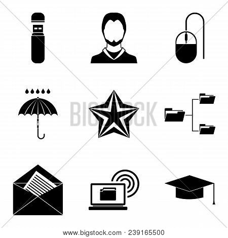 Scrivener Icons Set. Simple Set Of 9 Scrivener Vector Icons For Web Isolated On White Background