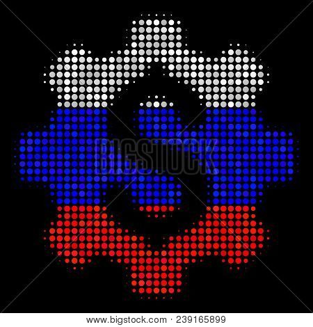 Halftone Industrial Capital Pictogram Colored In Russian Official Flag Colors On A Dark Background.