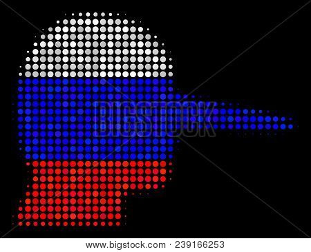 Halftone Lier Pictogram Colored In Russian Official Flag Colors On A Dark Background. Vector Concept