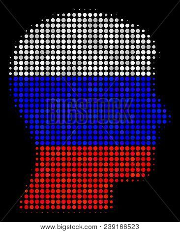 Halftone Man Head Profile Icon Colored In Russian Official Flag Colors On A Dark Background. Vector