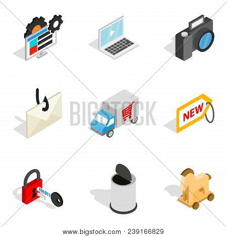 Online Society Icons Set. Isometric Set Of 9 Online Society Vector Icons For Web Isolated On White B