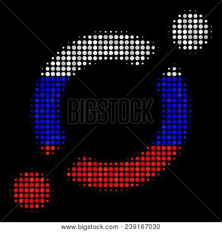 Halftone Node Link Icon Colored In Russia Official Flag Colors On A Dark Background. Vector Concept