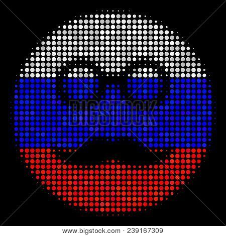 Halftone Pension Smiley Icon Colored In Russian State Flag Colors On A Dark Background. Vector Colla