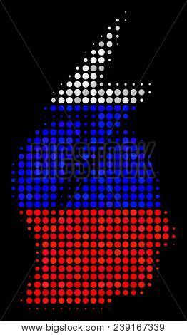 Halftone Person Stress Strike Icon Colored In Russian Official Flag Colors On A Dark Background. Vec