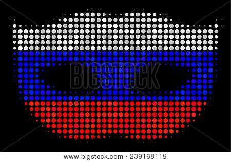 Halftone Privacy Mask Pictogram Colored In Russian State Flag Colors On A Dark Background. Vector Co