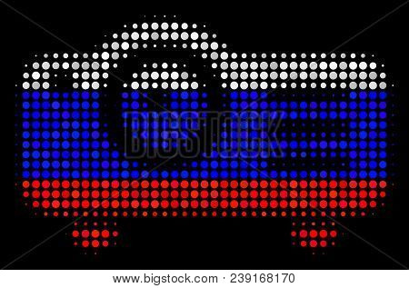 Halftone Projector Pictogram Colored In Russian Official Flag Colors On A Dark Background. Vector Co