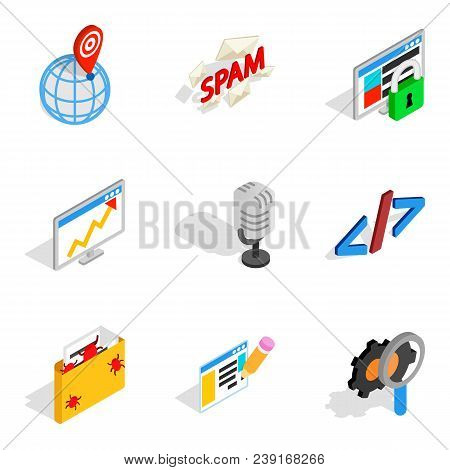 Online Contemporary Icons Set. Isometric Set Of 9 Online Contemporary Vector Icons For Web Isolated