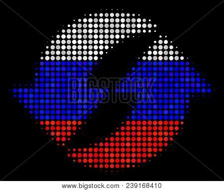 Halftone Refresh Pictogram Colored In Russian Official Flag Colors On A Dark Background. Vector Patt