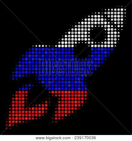 Halftone Space Rocket Launch Pictogram Colored In Russia Official Flag Colors On A Dark Background.