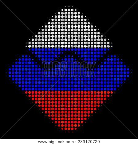Halftone Waves Currency Icon Colored In Russian State Flag Colors On A Dark Background. Vector Mosai