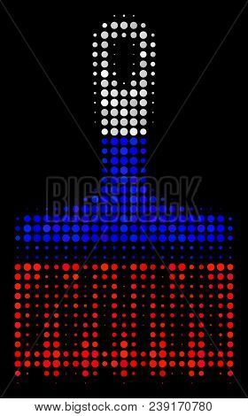 Halftone Wide Brush Pictogram Colored In Russia State Flag Colors On A Dark Background. Vector Compo