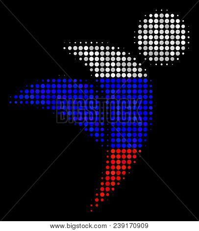 Halftone Winged Man Icon Colored In Russian Official Flag Colors On A Dark Background. Vector Collag