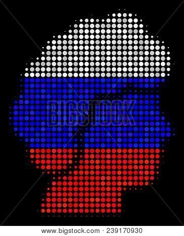 Halftone Woman Profile Pictogram Colored In Russian Official Flag Colors On A Dark Background. Vecto