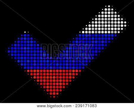 Halftone Yes Icon Colored In Russian Official Flag Colors On A Dark Background. Vector Mosaic Of Yes