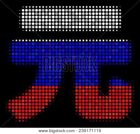 Halftone Yuan Renminbi Icon Colored In Russian Official Flag Colors On A Dark Background. Vector Con