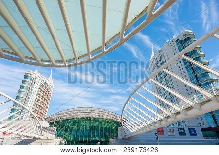 Lisbon, Portugal - Nov 26, 2013 : Lisbon Oriente Station Architecture In Daylight With Sao Gabriel A