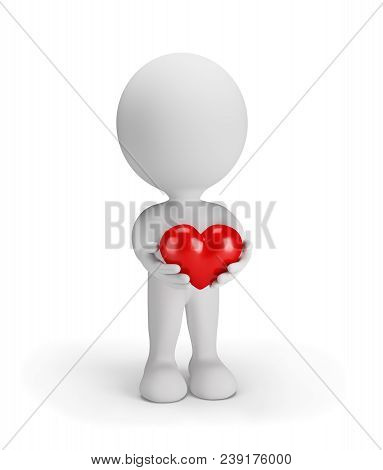 3d Man Gives His Heart To Everyone. 3d Image. White Background.