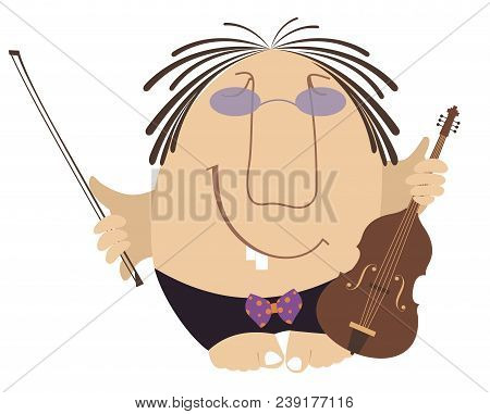 Funny Cartoon Violinist Illustration Isolated. Smiling Man With Violin And Fiddlestick Illustration