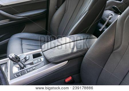 Modern Luxury Car Inside. Interior Of Prestige Modern Car. Comfortable Leather Seats. Black Perforat