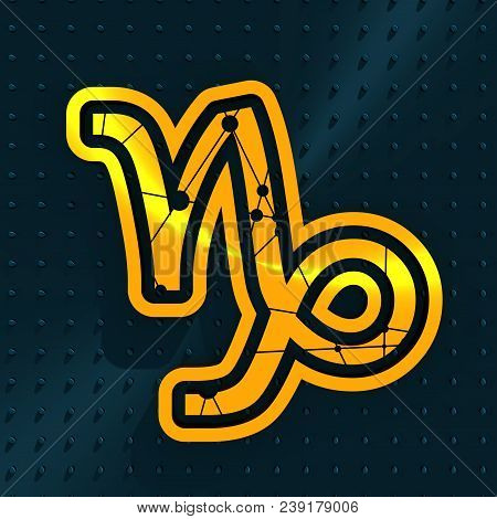 Zodiac Symbol Textured By Connected Lines With Dots Pattern. Sign Of The Mountain Sea Goat. 3d Rende