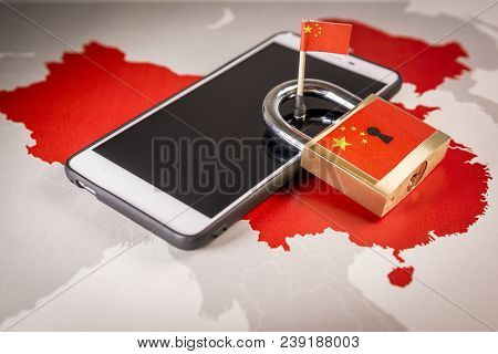 Padlock, China flag on a smartphone and China map, symbolizing the Great Firewall of China concept or GFW and all extreme Internet censorship in China poster