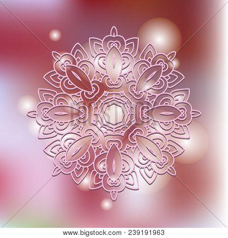 Mandala On A Blurred Background.  Vector Mandala Print.vintage Decorative Elements. Hand Drawn Backg