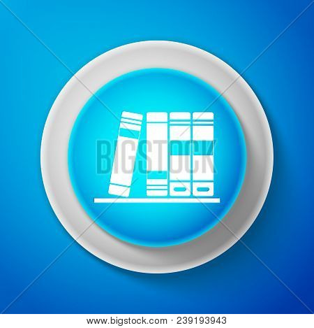White Office Folders With Papers And Documents Icon Isolated On Blue Background. Archives Folder Sig