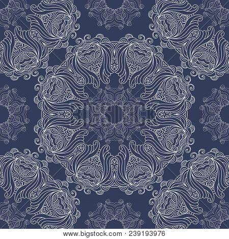 Vector Seamless Pattern Mandala Print.vintage  Oriental Decorative Elements. Hand Drawn Asian Backgr