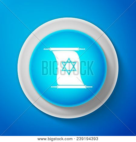 White Torah Scroll Icon Isolated On Blue Background. Jewish Torah In Expanded Form. Torah Book Sign.