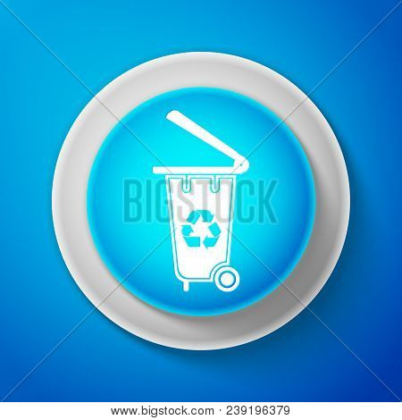 White Recycle Bin With Recycle Symbol Icon Isolated On Blue Background. Trash Can Icon. Circle Blue