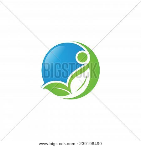 Round Health Human Vector Logo Concept Illustration With Leaf And People. Human Character Logo Sign.