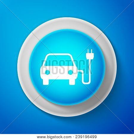 White Electric Car And Electrical Cable Plug Charging Icon Isolated On Blue Background. Electric Car
