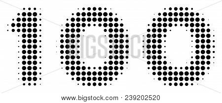 Dot Black 100 Text Icon. Vector Halftone Mosaic Of 100 Text Pictogram Composed From Round Elements.