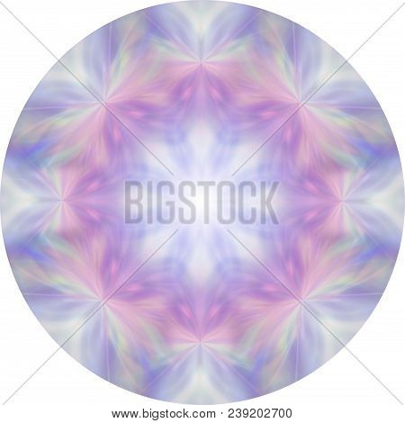 Feminine Eight Segment Pink And Blue Meditation Mandala - Circular Design Soft Pink And Blue Moth Li