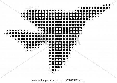 Dot Black Airplane Intercepter Icon. Vector Halftone Mosaic Of Airplane Intercepter Icon Composed Fr