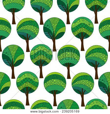 Seamless Background With Abstract Green Patterned Forest Trees, Isolated On White. Tile Pattern For