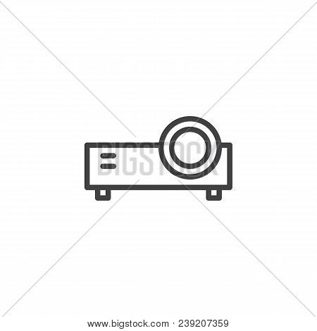 Projector Outline Icon. Linear Style Sign For Mobile Concept And Web Design. Portable Projector Simp