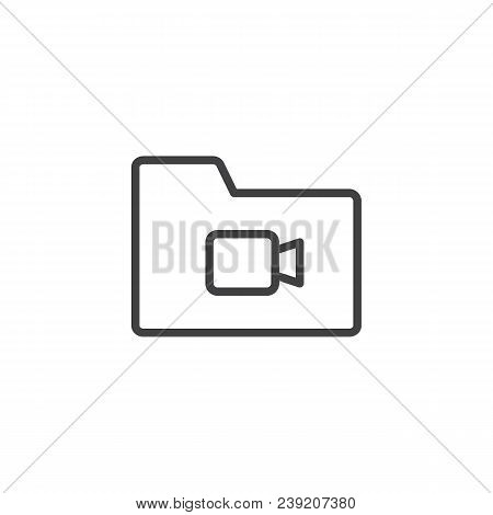 Video File Folder Outline Icon. Linear Style Sign For Mobile Concept And Web Design. Multimedia Fold