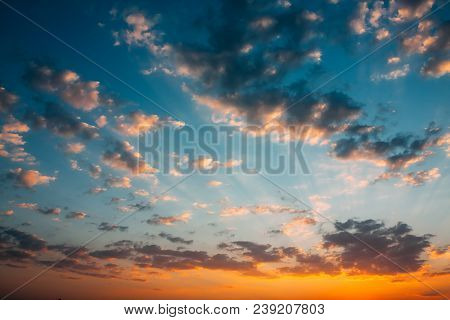 Sunset Sunrise Sky Background. Natural Bright Dramatic Sky In Sunset Dawn Sunrise. Yellow And Pink C