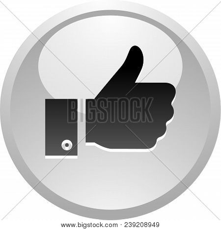 Like, Icon On Round Gray Button, Vector Illustration