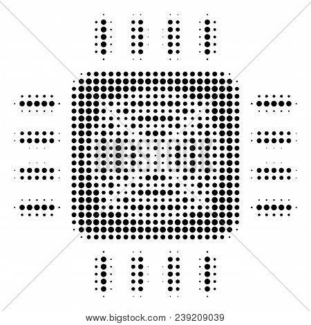 Pixelated Black Asic Processor Icon. Vector Halftone Collage Of Asic Processor Pictogram Designed Of